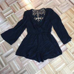 [buttons] Black Romper with Lacey Detailed Back